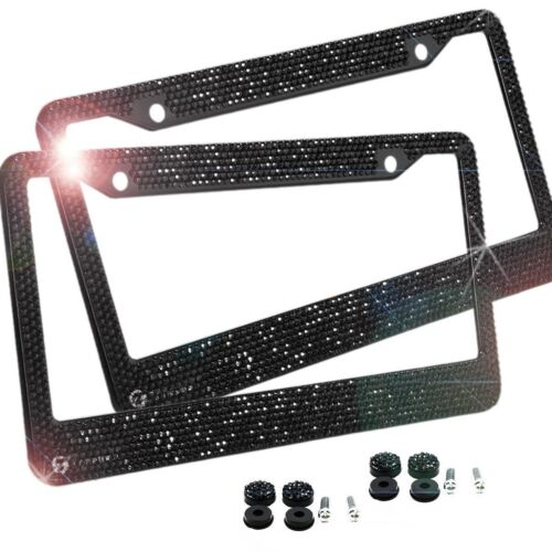 Zone  Tech Car License Plate Frame Rhinestone Bling Carbon Metal Chrome Black