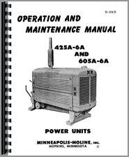Minneapolis Moline Power Unit Manual Service Repair Operators 425 6a 605a 6a
