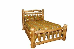Rustic Pine Log King Size Double Rail Complete Bed Frame Amish