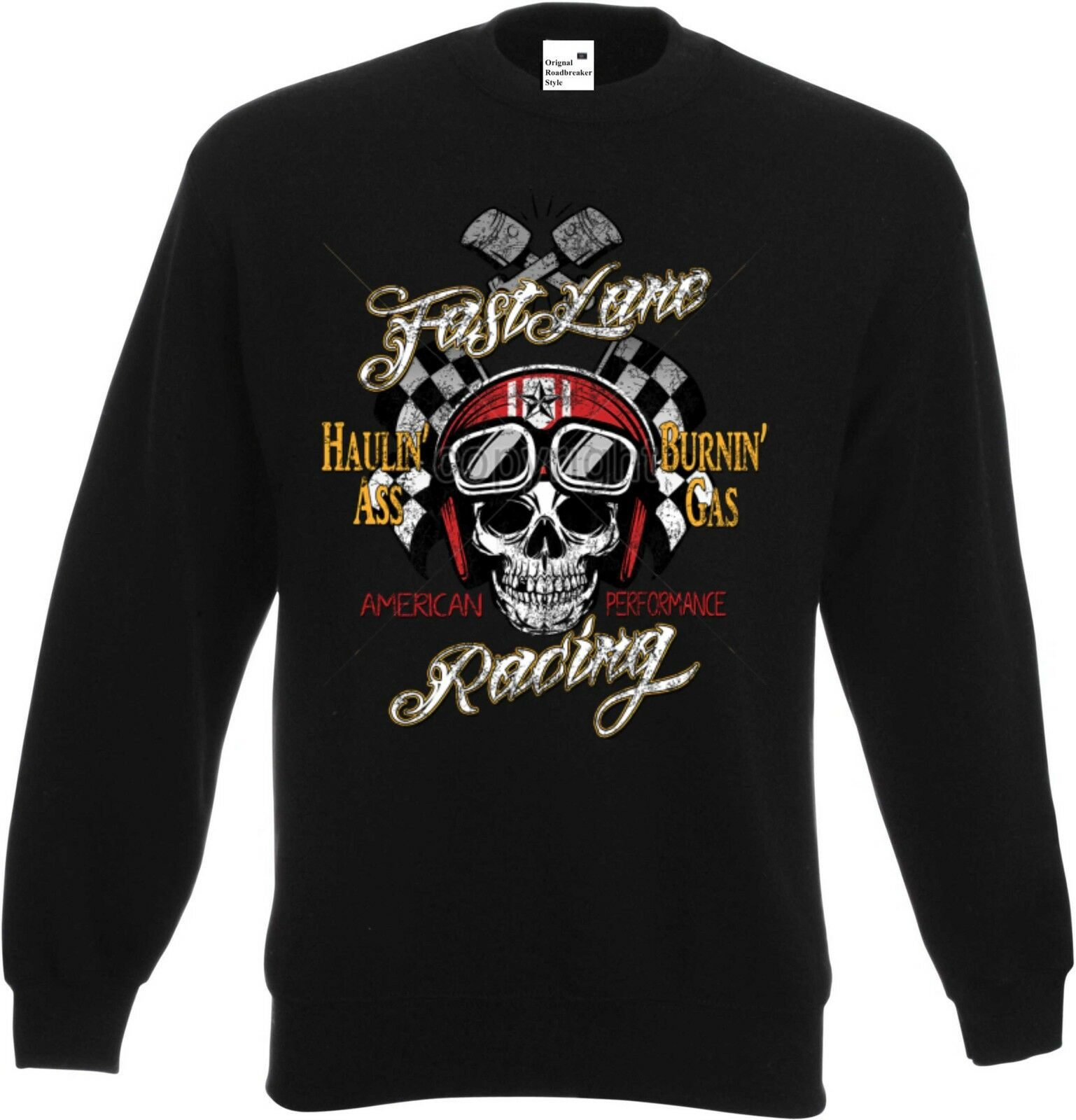 Sweatshirt black US Car V8 Biker Chopper-&Old Schoolmotiv Modell Fast Lane