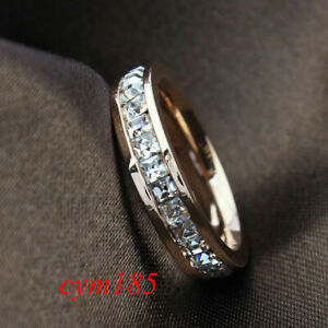 Silver-Rose-Gold-CZ-Titanium-Steel-Ring-Men-Womens-Stainless-Band-Wedding-Sz3-10