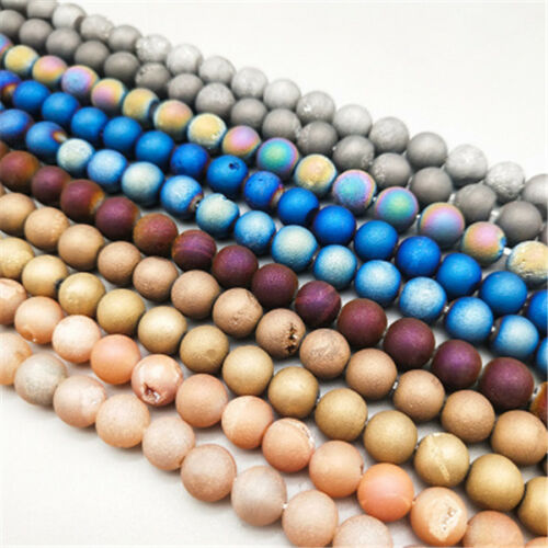 23Pcs 8mm Natural Druzy Quartz Matte Agate Gemstone Round Bead Multi-color