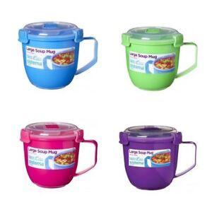 Microwavable Large Soup Mug With Clip Lock Airtight Lid 900ml   eBay