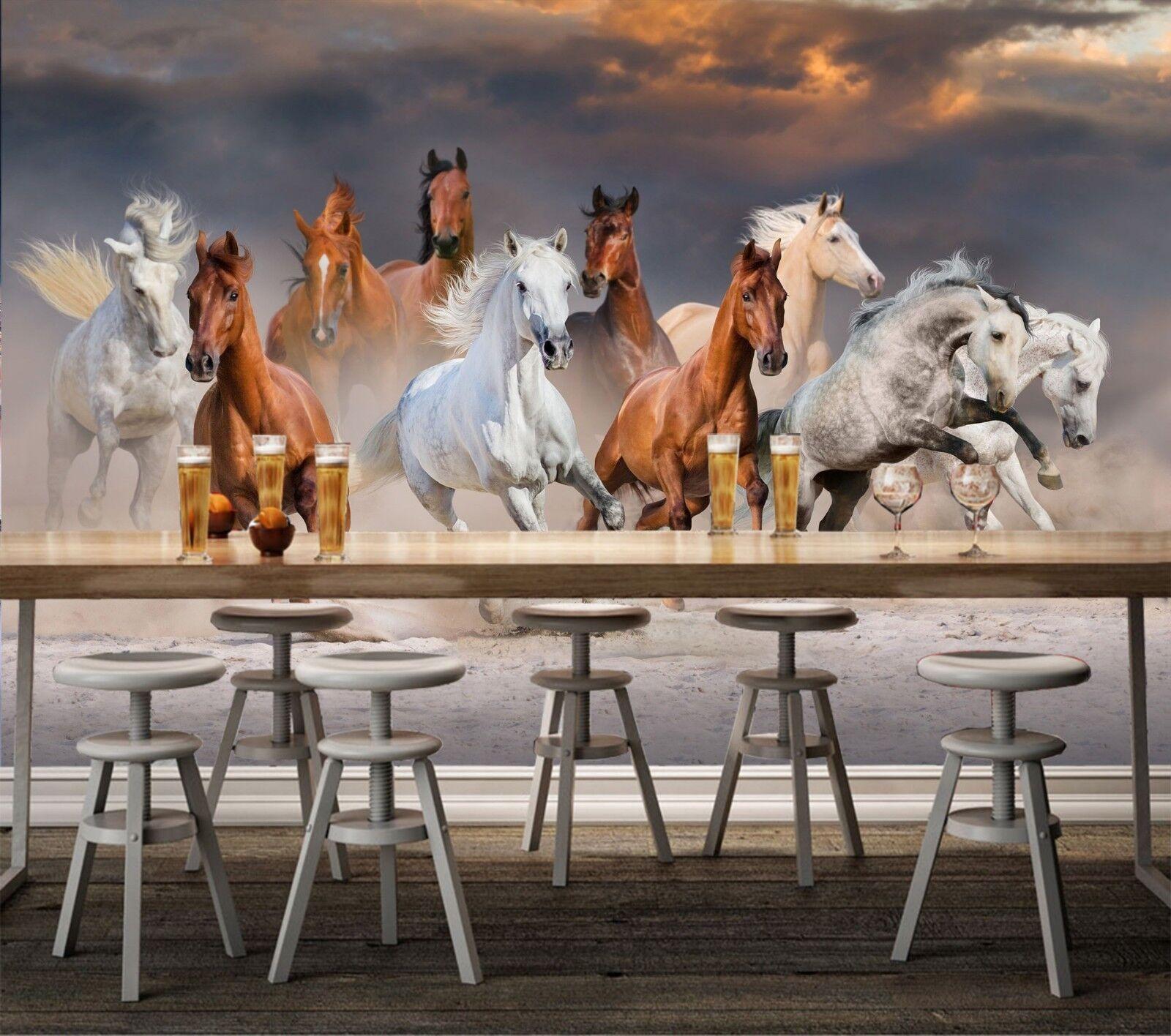 3D Running Horse 7150 Wallpaper Mural Wall Print Wall Wallpaper Murals US Lemon