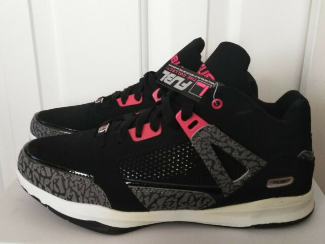 91f18dd496fd13 FUBU Collection Reed 3 Black Red Mid Top Basketball SNEAKERS Shoes ...