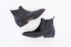 NWOB-1995-Brunello-Cucinelli-Patent-Leather-Monili-Trim-Beaded-Chelsea-Boot-A176