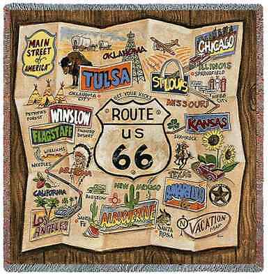 OLD ROUTE 66 VINTAGE RETRO MAP TAPESTRY THROW AFGHAN BLANKET 53x53