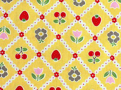 Patchwork Stoffe Bake Sale Kirsche Erdbeere Karo Fifties Obst gelb 50er Jahre