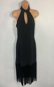 WOMENS-LIPSY-MICHELLE-KEEGAN-BLACK-PARTY-FRINGE-TASSEL-COCKTAIL-BODYCON-DRESS-12