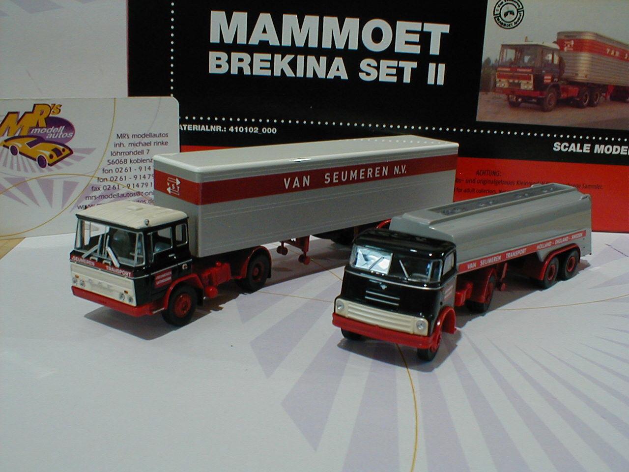 Brekina 99264 DAF 2000 Tieflader   FT 2600 Pritschenzug SET van Seumeren 1 87