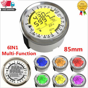 6in1 Multi-Function GPS Speedometer Tachometer Gauge Water Temp Fuel Level Meter