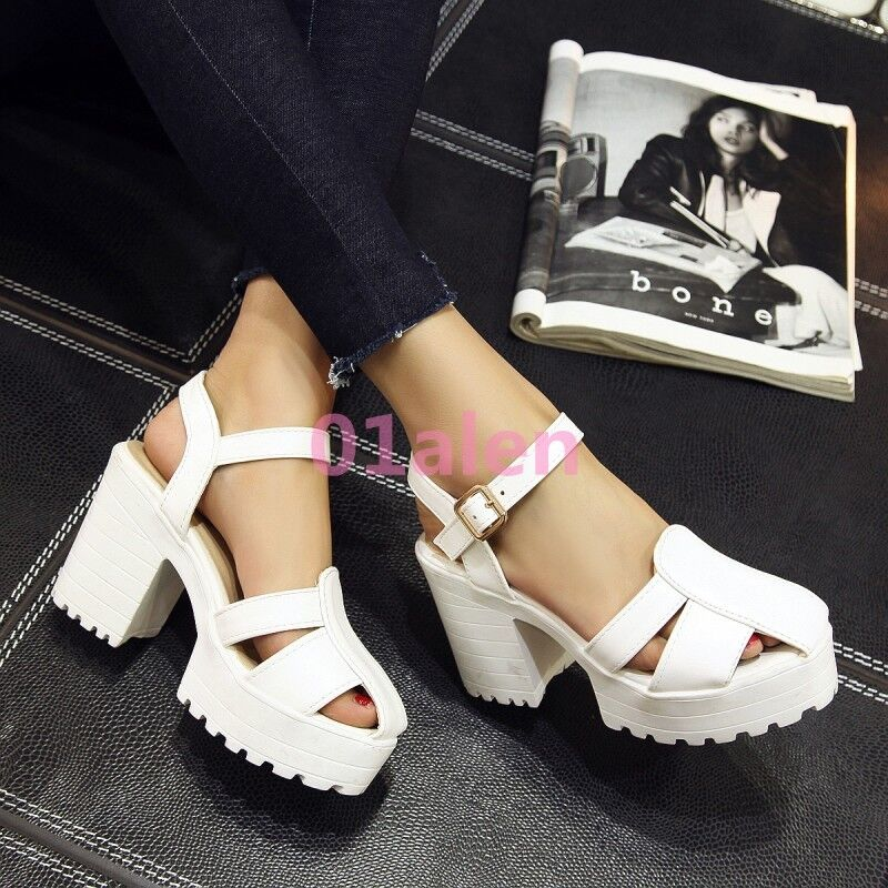 Womens High Block Heel Hollow Out Closed Toe Platform Sandals Ankle Strap shoes