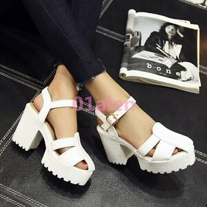 4b14ed68a55 Womens High Block Heel Hollow Out Closed Toe Platform Sandals Ankle ...