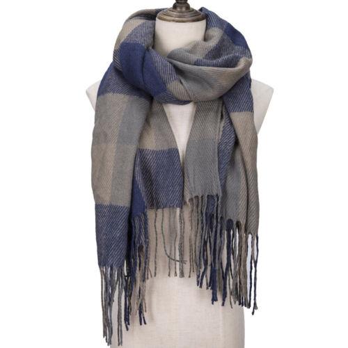 Femme Fashion carreaux hiver chaud Tartan col châle écharpe Wrap étoles Plaid