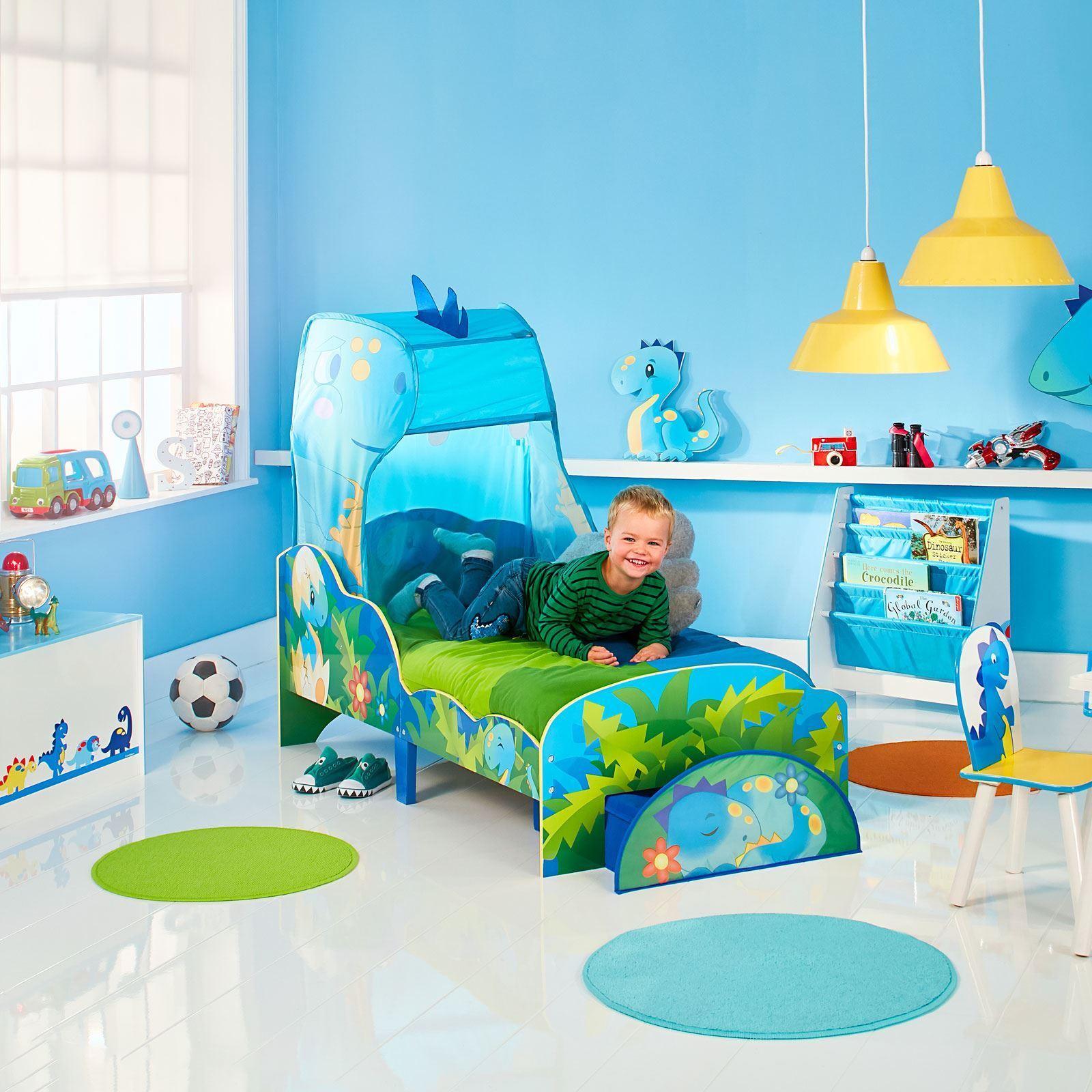 Dinosaur bébé lit avec rangement & Canopy Junior Enfants Chambre à coucher