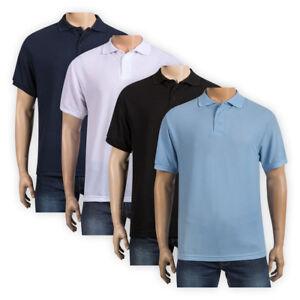 Men-Short-Sleeve-Rib-Collar-Pique-Polo-Shirt-Cotton-Rich-Casual-T-shirt-Top-S-XL