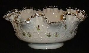 Fenton-Bowl-Silver-Crest-Signed-Kim-Blake-Hand-Painted-8-5-034-Art-Glass-Footed