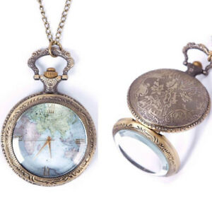 Vintage-Necklace-Pendant-Steampunk-Retro-Quartz-World-Map-Pattern-Pocket-Watch