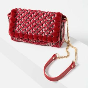c883a5f5afb Details about NWT ZARA RED EMBROIDERED POM POM BAG WITH GOLD LINK CHAIN  RARE REF 4119/104/020