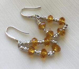 Fashion-Women-039-s-Dangling-golden-colour-Cystal-Earrings