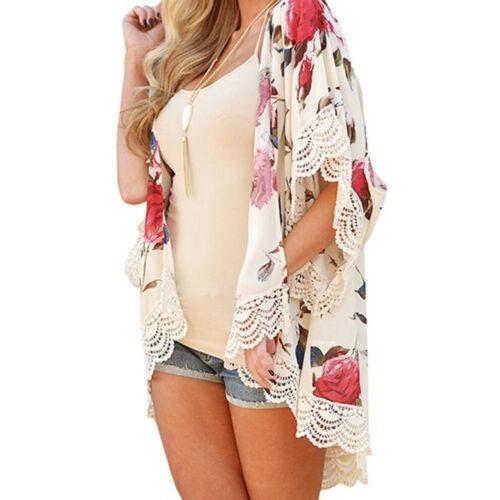Summer Women Ladies Floral Shawl Kimono Cardigan Boho Chiffon Coat Blouse Baggy