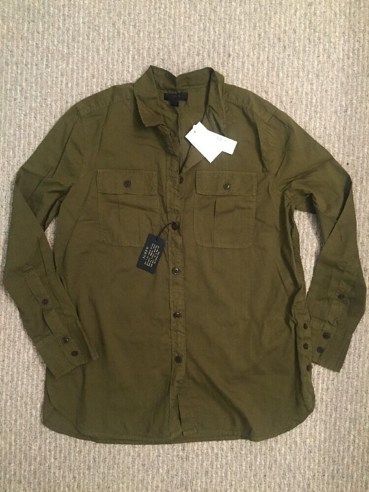NWT JCREW Garment-dyed Fatigue Shirt G1162  Military Grün Sz 2 SOLD OUT