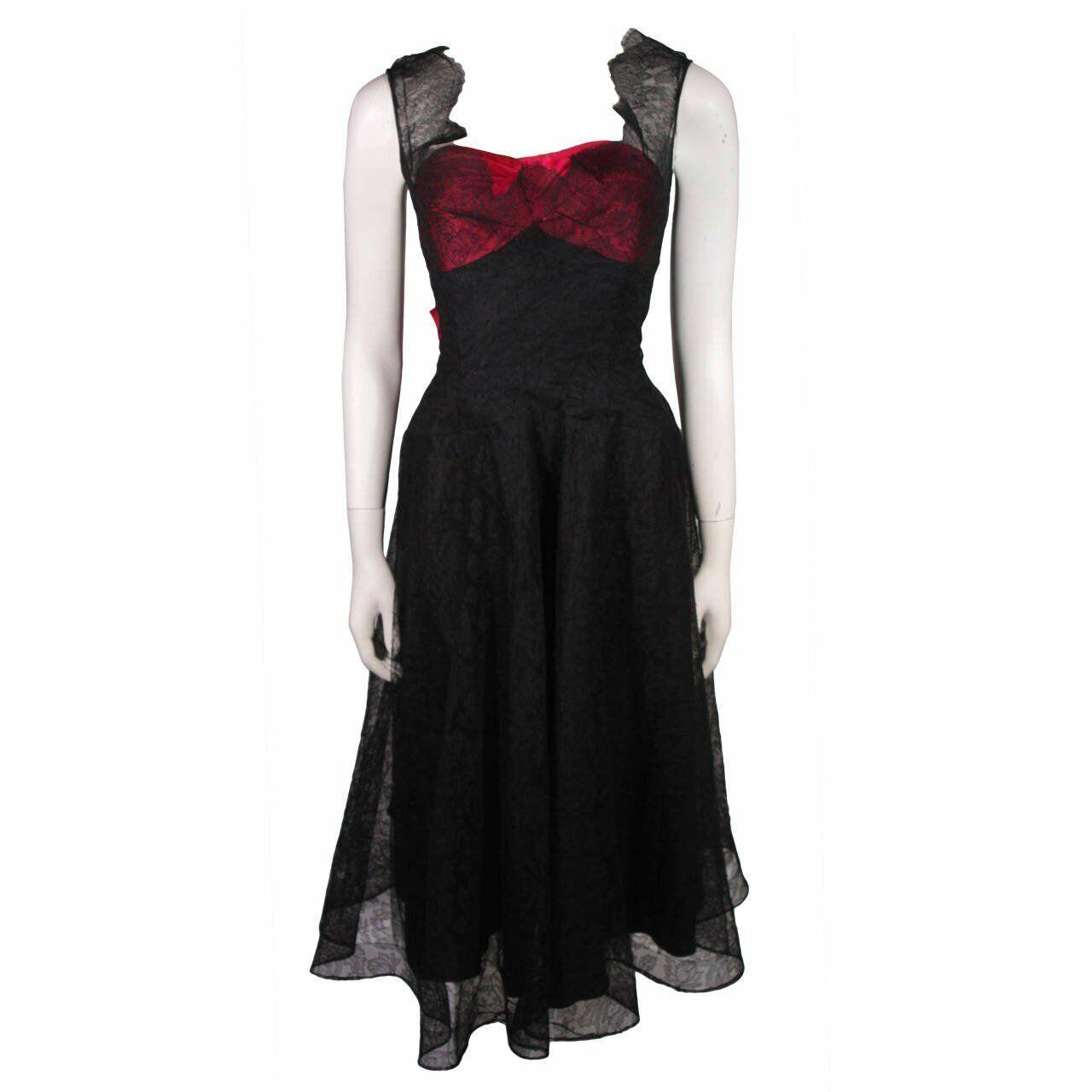 CEIL CHAPMAN Black Lace Cocktail Dress with Large… - image 2
