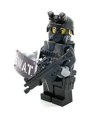 Custom swat police officer point man minifigure made with real LEGO® parts
