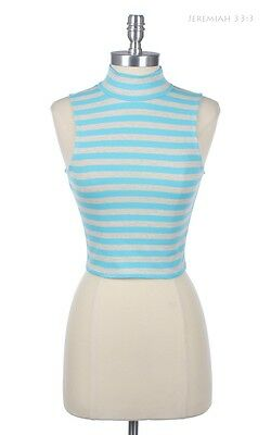 Sexy Striped MockNeck Turtle Neck Cropped Sleeveless Tank Top Back Hole Cotton