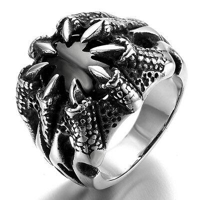 Stainless Steel Men's Ring , Color Black Silver, Vintage, Biker, Claw, Crystal