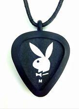 GUITAR PICK Necklace by Pickbandz PICK HOLDER in Black w/ Playboy guitar pick!