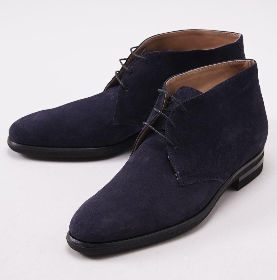 Nuevo En Caja  Kiton Becerro Azul Marino Gamuza Chukka botas al Tobillo Zapatos US 10.5