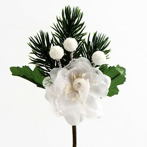 image is loading christmas flowers frosted white berry amp rose spray - White Christmas Flower Decorations