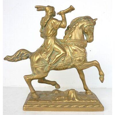 Beau Petit BRONZE Cheval Cavalier Cor de Chasse