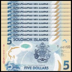 Lot 10 PCS, Solomon Islands 5 Dollars, 2019, P-New, Prefix A/1, Banknotes, UNC