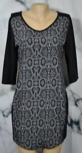 NYC-NEW-YORK-amp-COMPANY-Black-Gray-Snakeskin-Print-Dress-Small-3-4-Sleeves