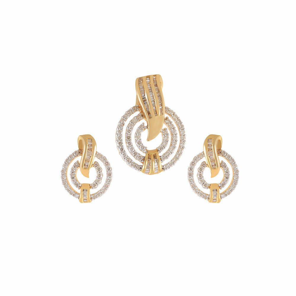 Pave 1.38 Carats Natural Diamonds Pendant Earrings Set In Fine Hallmark 14K gold
