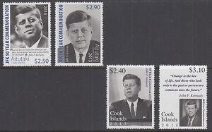 Cook Islands Sc 1476-1477, Aitutaki Sc 615-616 MNH. 2013 JFK Commemorative