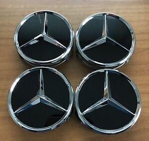 4-Mercedes-Benz-Embleme-Nabenkappen-Nabendeckel-Felgendeckel-Orginal-Schwarz-NEU