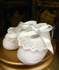 Will-039-beth-NWT-Infant-Newborn-Baby-Girl-Fancy-Crib-Shoes-Eyelet-Lace-sz-0