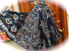 RARE! Cotton & Rayon EMBELLISHED, GORED, Full CIRCLE+ Boho lined MAXI Skirt~S/M