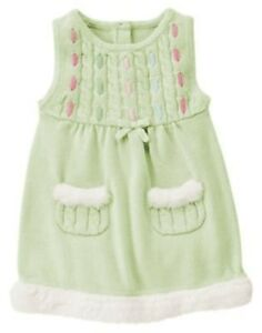 Gymboree fairy wishes green fur pocket hem sweater jumper 6 12 18 24