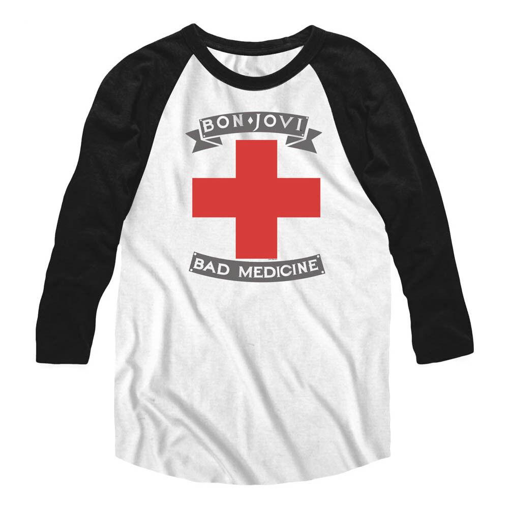 BON JOVI BAD MEDICINE MENS T-Shirt New Raglan Licensed in Sizes SM - 2XL