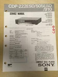 sony service manual for the cdp 222esd 505esd 910 cd player repair rh ebay com Home CD Player Repair pioneer cd player repair manual