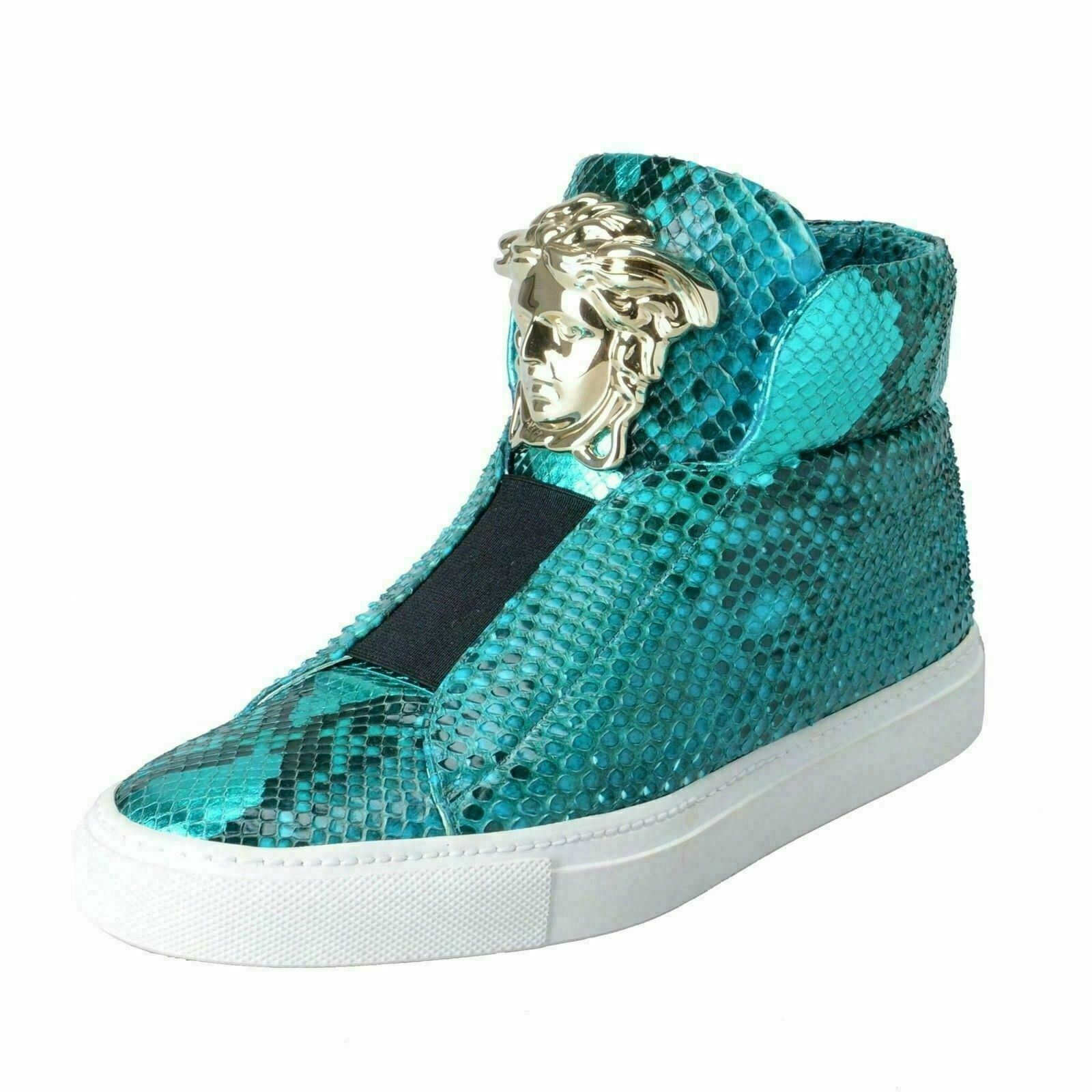 Versace Women's Turquoise Python Leather Medusa Sneakers shoes US 7 IT 37