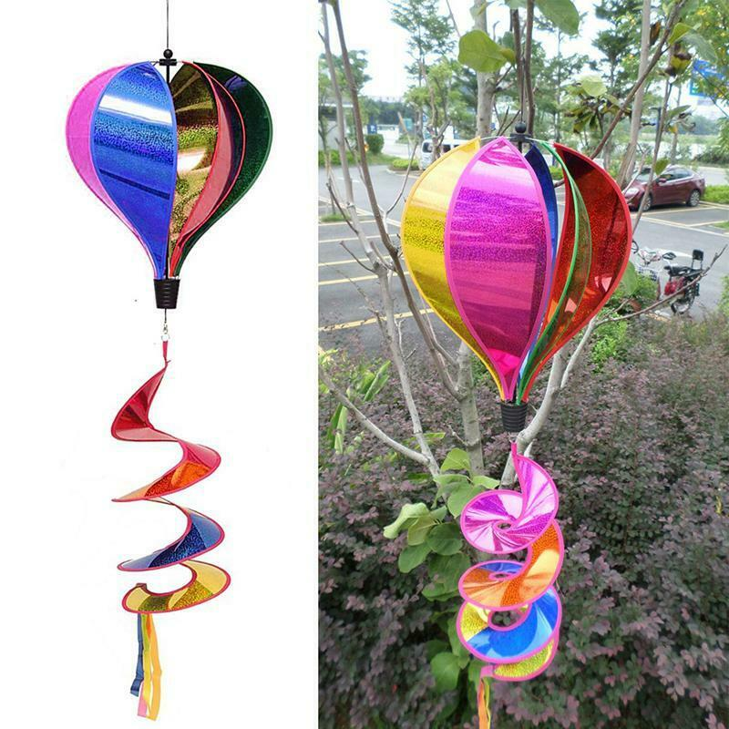 Outdoor Rainbow Hot Air Balloon Sequins Windsock Striped Wind Spinner Decoration