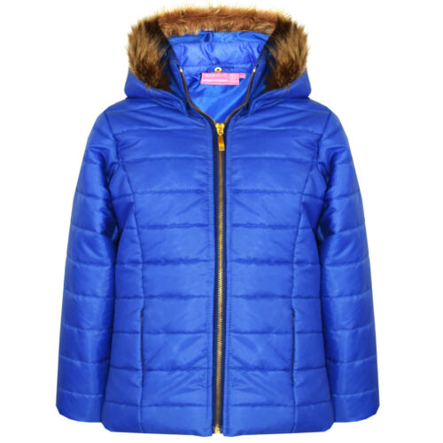 Kids Shiny Wet Look School Short Quilted Fur Hooded Jacket Coat AGES 7-13
