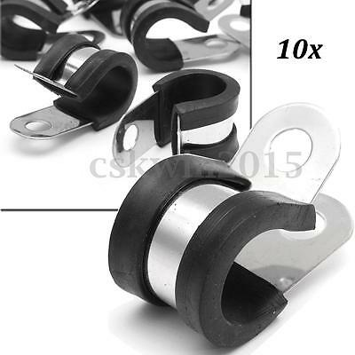 10Pcs 13mm Rubber Lined P Clips Stainless Steel Clamp Retaining Hose Pipe Cable