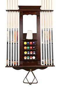 Cue Rack Only- 10 Pool - Billiard Stick & Ball Set Wall Rack Mahogany Finish