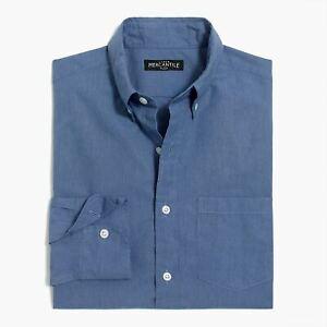 New-J-Crew-Mens-Slim-Flex-Oxford-Button-Shirt-Heather-Light-Royal-Blue-X-Large